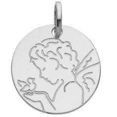 Médaille chérubin oiseau 16 mm (or blanc 375°)