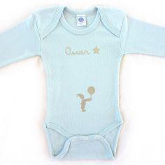 Body bleu à manches longues personnalisable (0-6 mois)