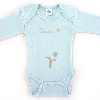 Body bleu à manches longues personnalisable (0-6 mois)  par Les Griottes