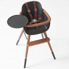 Chaise haute évolutive Ovo Luxe city avec harnais marron imitation cuir