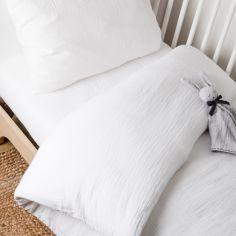 Housse de Couette + taie d'oreiller en coton bio froissé Blanc (100 x 140 cm)