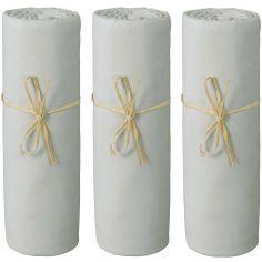 Lot de 3 draps housses en coton bio gris perle (70 x 140 cm)