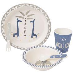 Coffret repas en bambou Girafe bleu indigo (5 pièces)