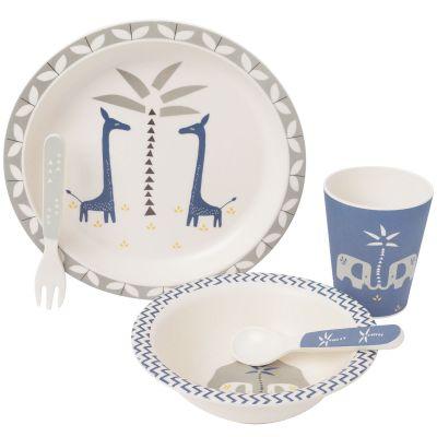 Coffret repas en bambou Girafe bleu indigo (5 pièces)  par Fresk