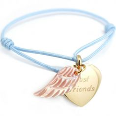 Bracelet cordon Coeur d'ange (plaqué or et nacre)