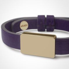 Bracelet cuir Hip-Hop Violet (or jaune 750° et cuir)