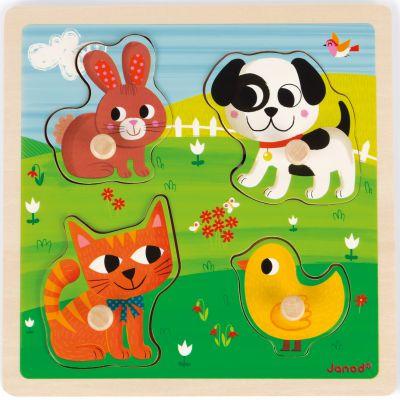 Puzzle tactile Mes premiers animaux (4 pièces) Janod