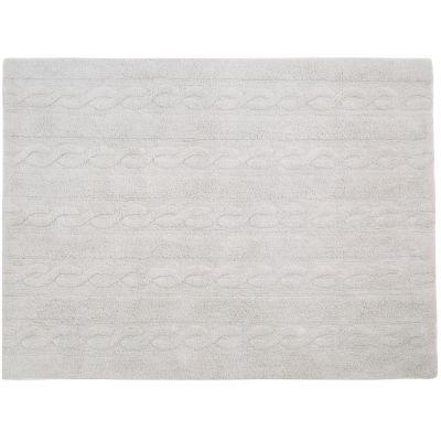 Tapis lavable unis à torsades gris perle (80 x 120 cm)  par Lorena Canals