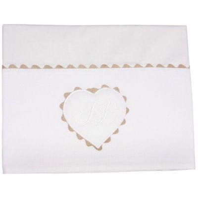 Parure de lit drap + taie d'oreiller Emma blanc (120 x 180 cm)  par Nougatine