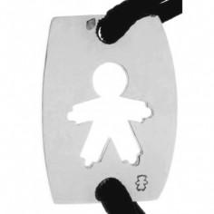Bracelet cordon papa plaque ajourée petite fille ou petit garçon 23 mm (or blanc 750°)