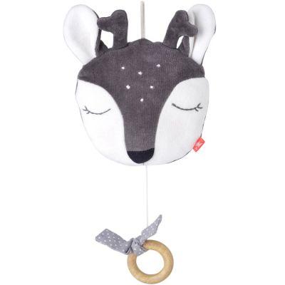Faon musical à suspendre en coton bio gris (23 cm)  par Kikadu
