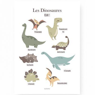 Affiche A3 Les dinosaures  par Lutin Petit Pois
