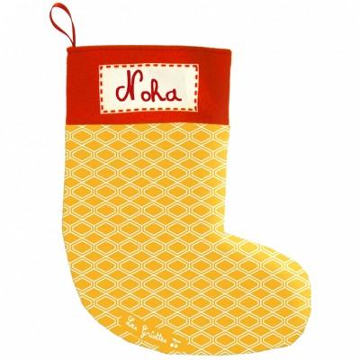 Chaussette de Noël vintage jaune (personnalisable)