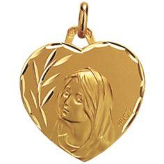 Médaille forme coeur Vierge 17,3 mm facettée (or jaune 750°)