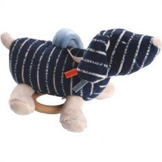 Doudou musical à suspendre Jack veloudoux Aston & Jack chien bleu (20 cm)