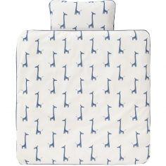 Housse de couette et taie d'oreiller Girafe bleu indigo (80 x 80 cm)