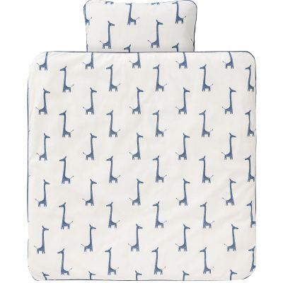 Housse de couette et taie d 39 oreiller girafe bleu indigo 80 - Housse de couette 80 x 120 ...