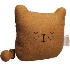 Mini peluche musicale en coton bio ours ocre (14 x 14 cm)