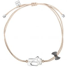 Bracelet cordon rose Mini Coquine ballerine (argent 925°)
