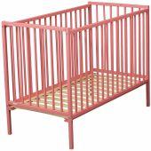 Lit à barreaux Rémi en bois massif laqué rose (60 x 120 cm) - Combelle