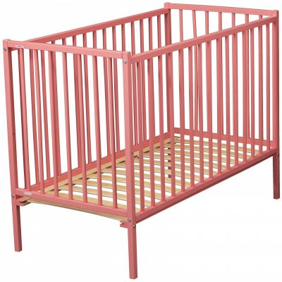 lit barreaux r mi en bois massif laqu rose 60 x 120 cm par combelle. Black Bedroom Furniture Sets. Home Design Ideas