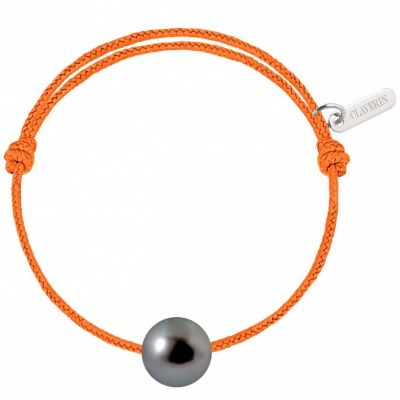 Bracelet bébé Baby Pearly cordon mandarine perle de Tahiti 7mm (or blanc 750°)  par Claverin