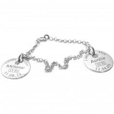 Bracelet avec 2 médaillons de naissance (argent 925° rhodié)