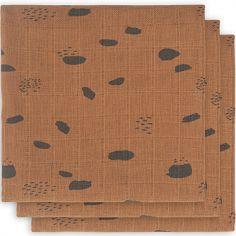 Lot de 3 langes hydrophiles Spot caramel (70 x 70 cm)
