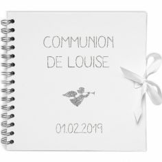 Album photo communion personnalisable blanc et argent (20 x 20 cm)