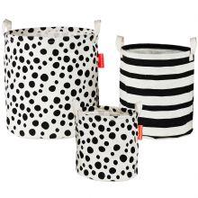 Lot de 3 paniers à jouets noir et blanc  par Done by Deer