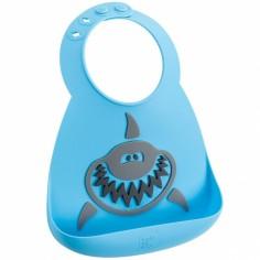 Bavoir silicone à poche Requin bleu et gris