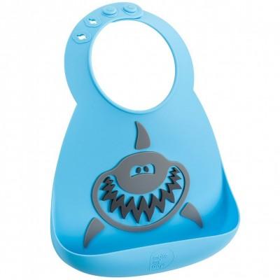 Bavoir silicone à poche Requin bleu et gris  par Make My Day