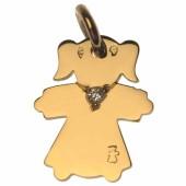 Pendentif petite fille ou petit garçon collier diamant 20 mm (or jaune 750°) - Loupidou