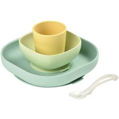 Coffret repas en silicone jaune et vert (4 pièces)