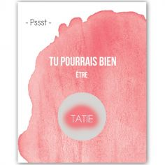 Carte à gratter Annonce de grossesse Aquarelle Tatie (8 x 10 cm)