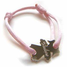 Bracelet cordon petite fille 15 mm (or blanc 750°)