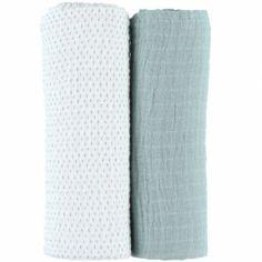 Lot de 2 draps housses coton bio vert d'eau Moris & Sacha (70 x 140 cm)