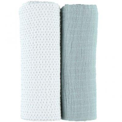 Lot de 2 draps housses coton bio vert d'eau Moris & Sacha (70 x 140 cm)  par Noukie's