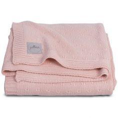 Couverture bébé en tricot doux pêche (75 x 100 cm)