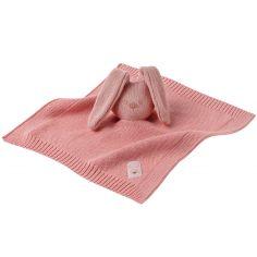 Doudou plat en tricot lapin rose Lapidou