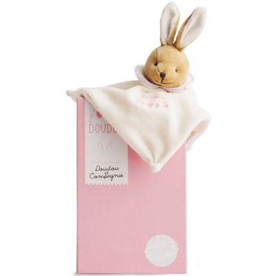 Doudou plat L'Original lapin rose (25 cm) Doudou et Compagnie