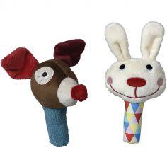 Lot de 2 hochets peluche maracas  chien et lapin Magic Circus (13 cm)