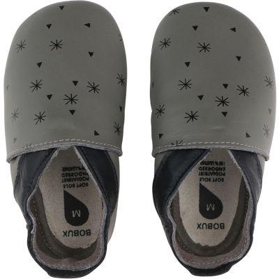Chaussons bébé en cuir Soft soles Flocon de neige gris (3-9 mois)  par Bobux