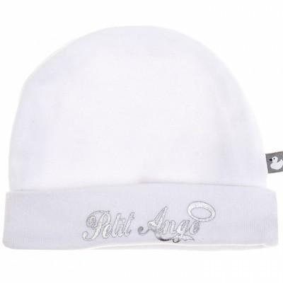 Bonnet de naissance Petit Ange blanc et argent  par BB & Co