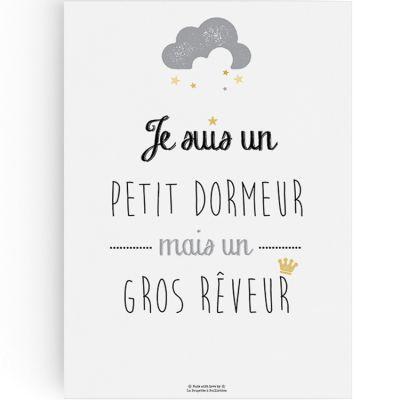 Affiche A3 Petit dormeur  par La Poupette à paillettes