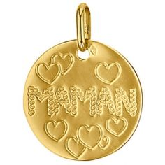Médaille ronde Maman 16 mm (or jaune 750°)