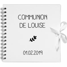 Album photo communion personnalisable blanc et noir (20 x 20 cm)