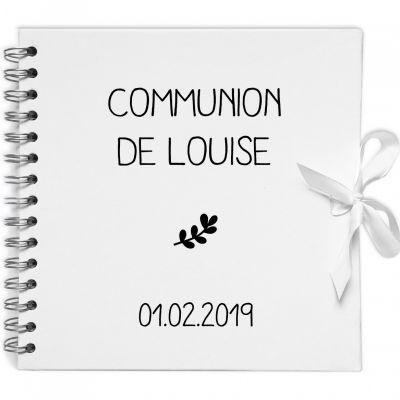 Album photo communion personnalisable blanc et noir (20 x 20 cm) Les Griottes