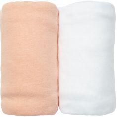 Lot de 2 draps housses pêche et blanc (60 x 120 cm)