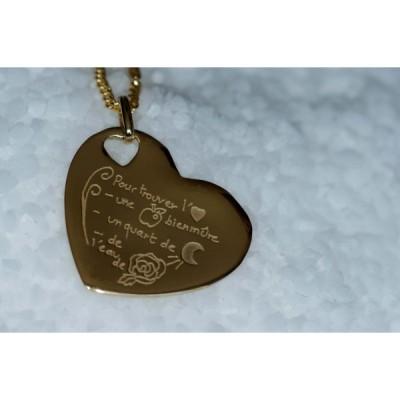 Pendentif empreinte coeur trou coeur avec bélière (or jaune 750°)   par Les Empreintes